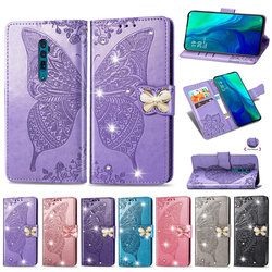 На Алиэкспресс купить чехол для смартфона glitter leather shell for oppo a5 a9 2020 a11x point drill butterfly flip book case for oppo reno a reno 10x zoom phone case