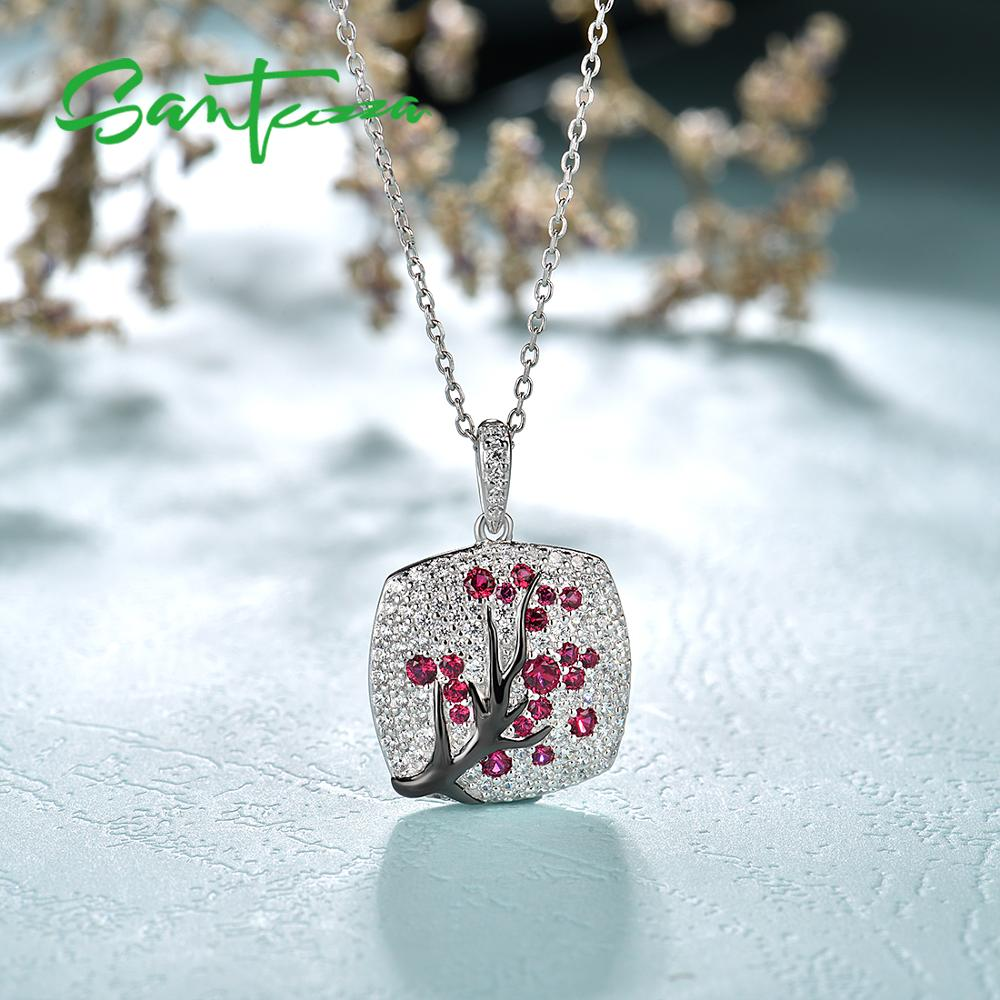 Image 5 - SANTUZZA Silver Pendant For Women 925 Sterling Silver Sparkling Pink Cherry Tree CZ Delicate Fashion подвеска кулон Fine Jewelry-in Pendants from Jewelry & Accessories