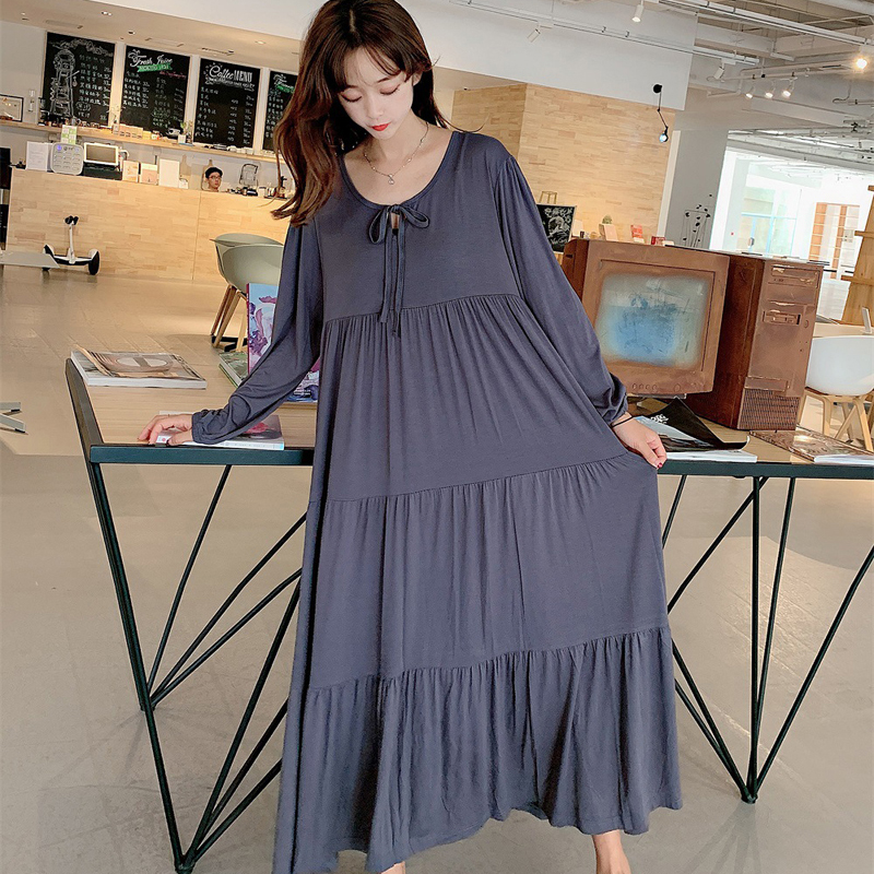 New Ladys Modal Tiered Skirt Nightgown Nightie Long Maternity Dress Home Dress Sleepwear Fat MM Night Shirt Loose Nightwear