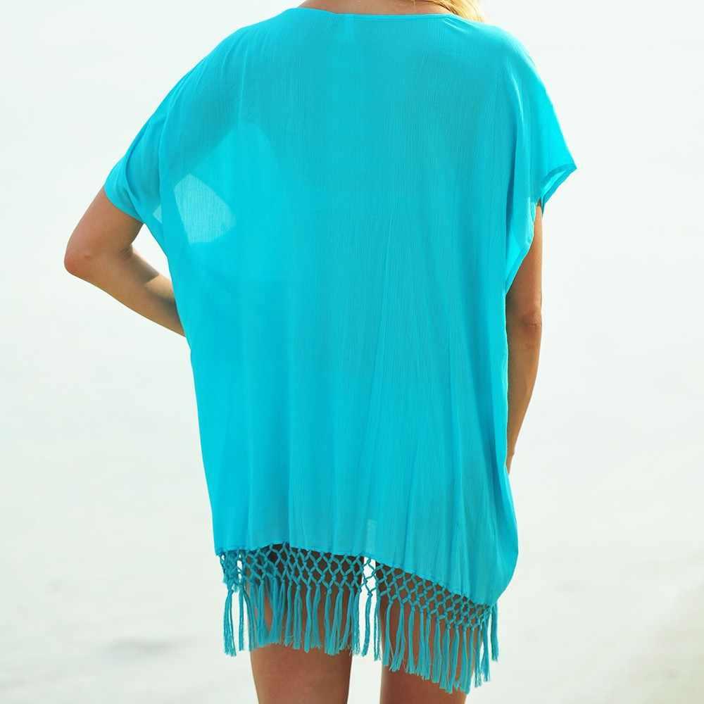 2020 新到着夏の女性ホワイトシフォンタッセルセクシーなビキニカバーアップ水着女性薄手のビーチウェアドレスビッグサイズプルオーバー