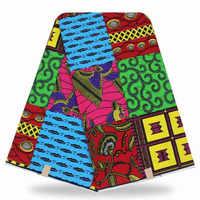 Tela estampada de cera de algodón africano de Ankara, 6 yardas, tela de cera Africana Real para vestido de fiesta