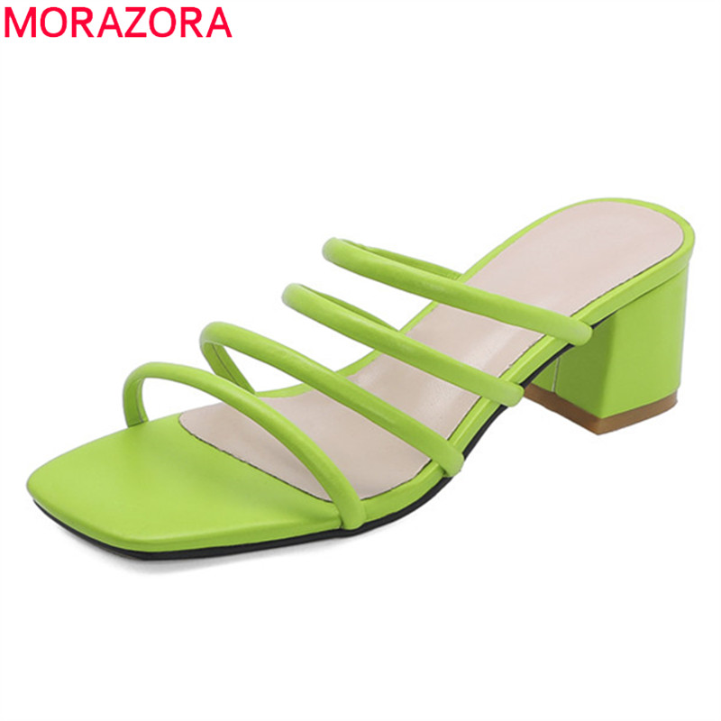 MORAZORA Plus Size 33-47 2020 Fashion Women Slippers Comfortable Pu Leather Casual Women Mules Sheos Solid  Color Summer Shoes
