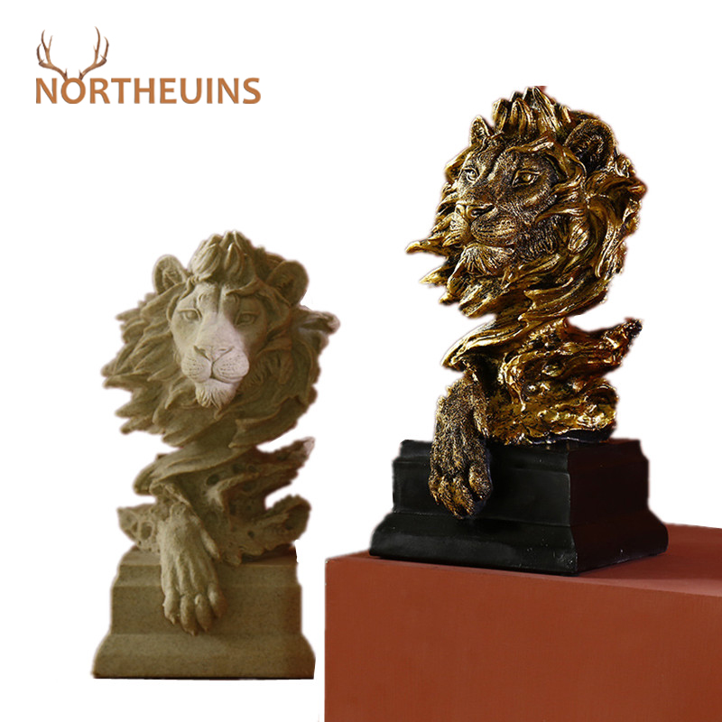 NORTHEUINS Sandstone Lion King of Beasts Statues Modern Animal Figurines for Interior Desk Sculpture Home Decoration Accessories