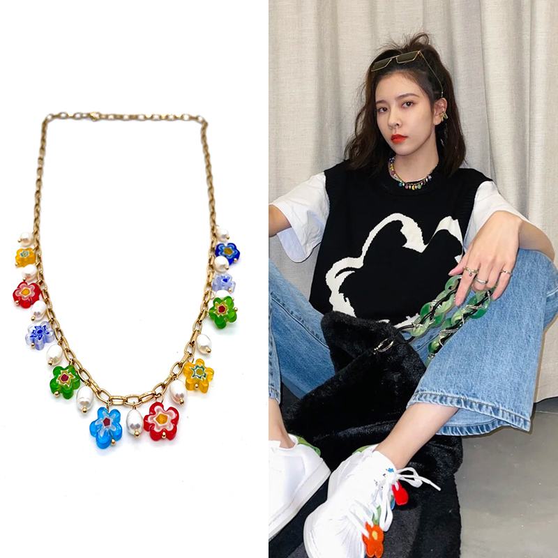 Star style Glaze Colorful flowers Pearl Splicing golden Necklace men and women fashion personality Versatile girl ornaments