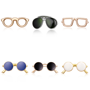 Belleper New Design Metal Small Cool Sunglasses Men Pin Brooch Accessories Fashion Women Gold Color Frame Glasses Trendy Gift