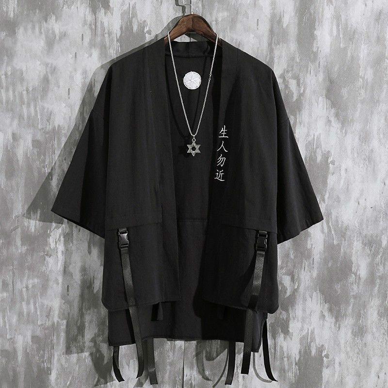 Кардиган мужской хаори, летняя рубашка-кимоно, самурайский халат в японском стиле, свободная куртка с Оби, уличная одежда, юката, азиатская о...