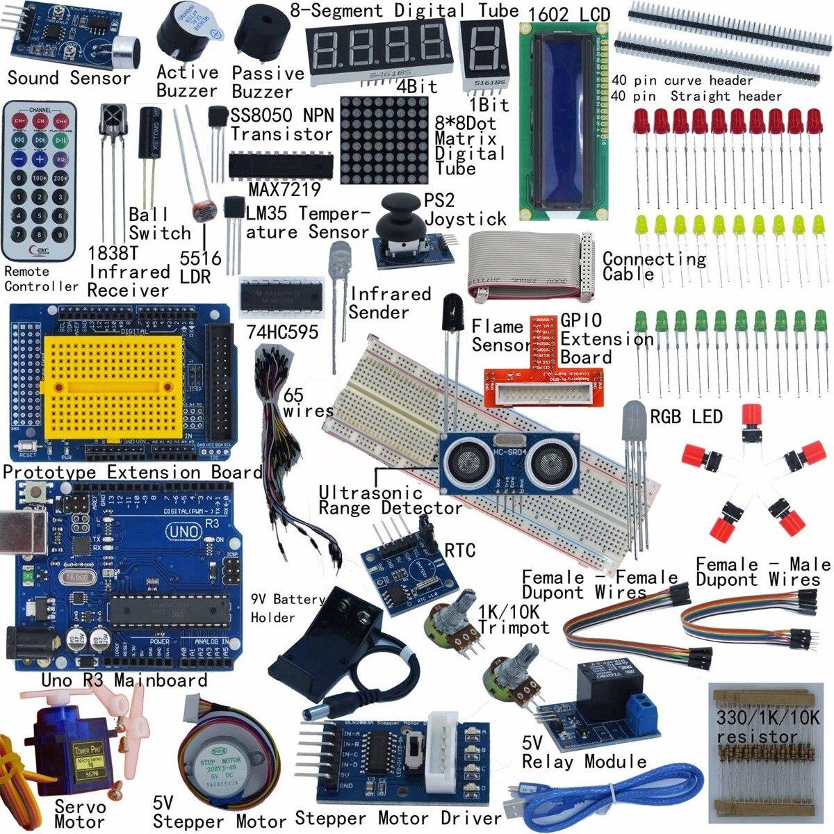 Полный стартовый комплект для Arduino UNO R3 1602, светодиодный серводвигатель с ЖК-дисплеем
