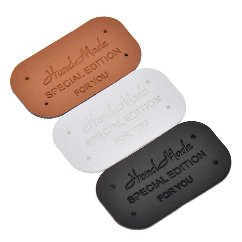 24Pcs PU Leather Labels Tags Handmade Clothing Sewing DIY Craft Patches Supplies