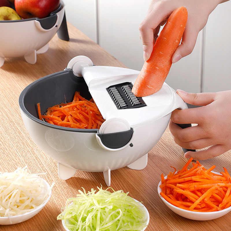 Multi Manual Slicer Memutar Vegetable Cutter dengan Drain Keranjang Salad Spinner Multi-Fungsi Dapur Sayuran Mesin Penghancur Parutan Slicer