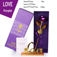Simulation 24K Gold Foil Rose Flower Gift Box Valentines Day Birthday Gifts