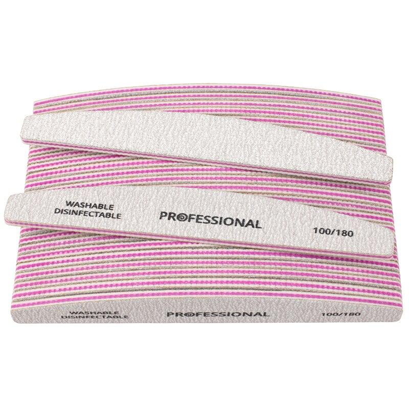 100Pcs Professional Nail File 100/180 Sandpaper Nail Art Sanding Buffer Block Grey Boat Buffing Washable Manicure Nail Tools Set
