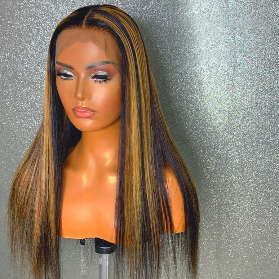 Highlights Colored Human Hair Lace Front Wigs Silk Straight Remy Hair Natural Hairline Glueless Wig With Baby Hair
