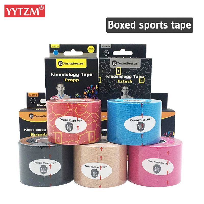 5cm*5m Upgraded Pre Cut Muscle Tape Elastic Roll <font><b>Sports</b></font> Kneepad Internal Cotton Elastic Adhesive <font><b>Sport</b></font> Kinesiology Patch <font><b>Injury</b></font> image