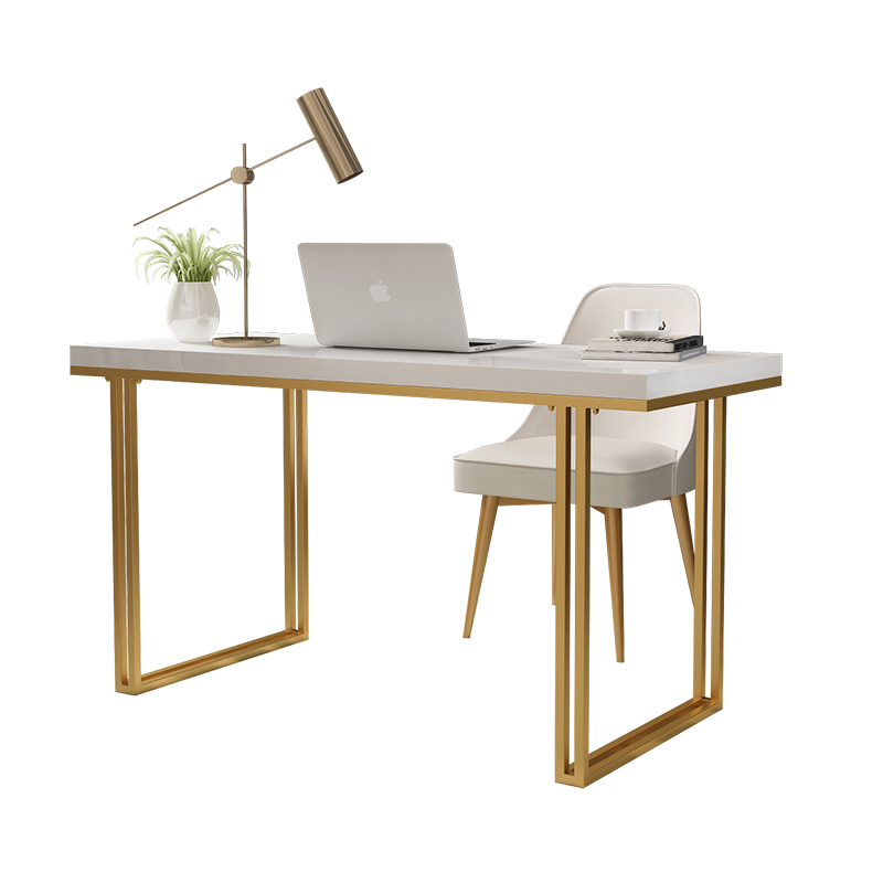 Post-modern Light Luxury Desk Solid Wood White Piano Paint Desktop Computer Desk Hong Kong Small Apartment Simple Writing Desk