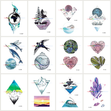 Wyuen 12 PCS/lot Flower Fake Tattoo Swallow Waterproof Temporary World Tatoo Stickers for Women Men Body Art Gem Tattoos JY-033