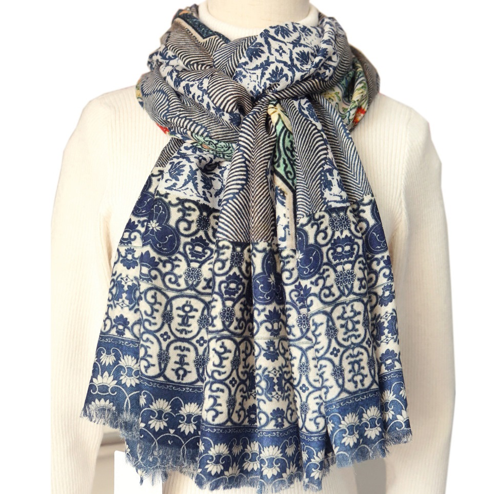100% cachemire écharpe femmes hiver Pashmina châle enveloppe bleu et blanc charmant imprime doux et léger 200x100cm