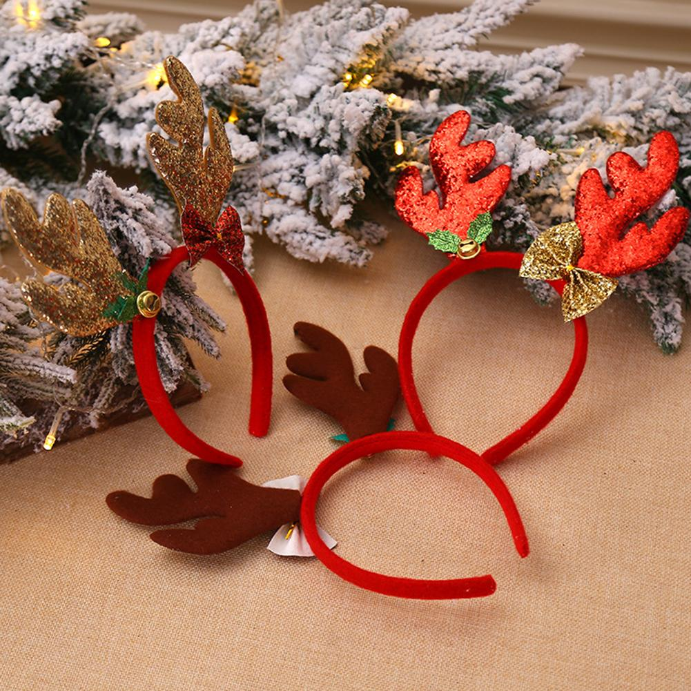 Christmas Antler Headband Bell Cartoon Cute Headband Christmas Decoration Holiday Performance Supplies Cosplay Party Fancy Dress in Christmas Headbands from Home Garden