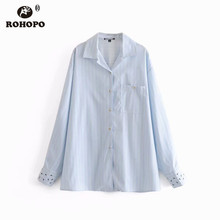 ROHOPO Vertical Striped Embroidery Ant Insecto Cuff Sky Blue Blouse Top Pockets Notched Collar Straight Top Blusa #6910