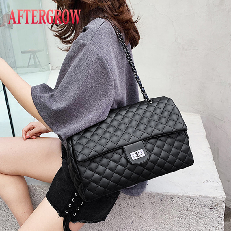 Classic Diamond Pattern Women Plaid Messenger Bag Big Square Female Shoulder Bags Rhombus Lattice Large Size Luxury Lady Handbag