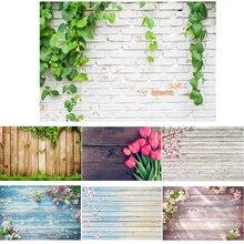 Фон для фотосъемки с зелеными растениями, цветами, кирпичной текстурой, тканевая декорация для фотостудии, 0,4/0,6/0,8/0,9/1,5/2,1 м