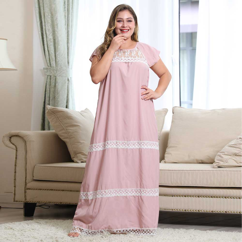 2020 Plus Size Lace Patchwork Nightwear Women Short Sleeve Contrast Night Dresses Ladies Casual Trim Loungewear VKDR1881
