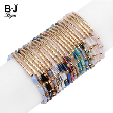 BOJIU Trendy Faceted Pear-shape Crystal Beads Customized Bracelets For Women Adjustable Gold Copper Tube Bracelet Bijoux BC342