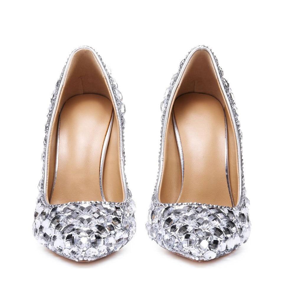 Women's High Heels Toe Crystal Heels Shoes Rhinestone Ladies Pumps Bridal Wedding Cocktail Shoes Snake Shaped Metal Decoration-BeeInFly