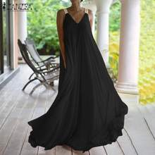 Mulheres praia robe femme plus size longo kaftan sexy com decote em v longo maxi vestidos M-5XL vestido de verão zanzea sem mangas vestido de festa