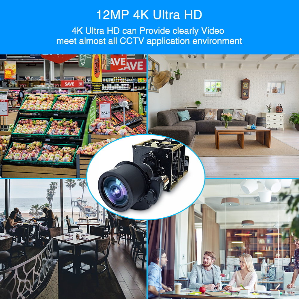 4K 12MP Starlight UHD Camera Module 3X Zoom 3 11mm Motorized Lens Sony IMX226 onvif PTZ Network IP Camera Board H.265 - 6