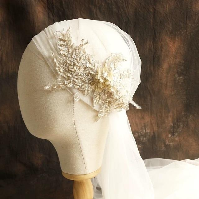120 centimetri super fata di colore di champagne del merletto cap stile velo della sposa bella filato morbido dei capelli della sposa accessori
