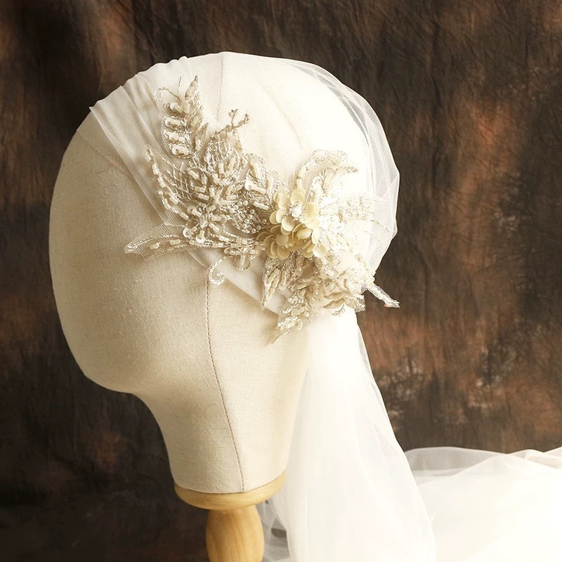 120cm Super Fairy Champagne Color Lace Cap-style Bride's Veil Beautiful Soft Yarn Bride Hair Accessories
