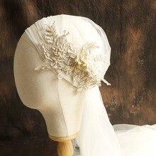 120cm super fairy champagne color lace cap style Brides veil beautiful soft yarn bride hair accessories