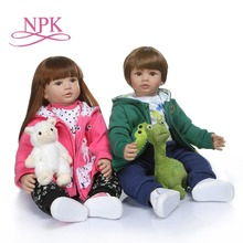 NPK 60CM high quality soft silicone reborn toddler girl doll in hoodie dress doll reborn long hair doll 6-9M real baby size недорого