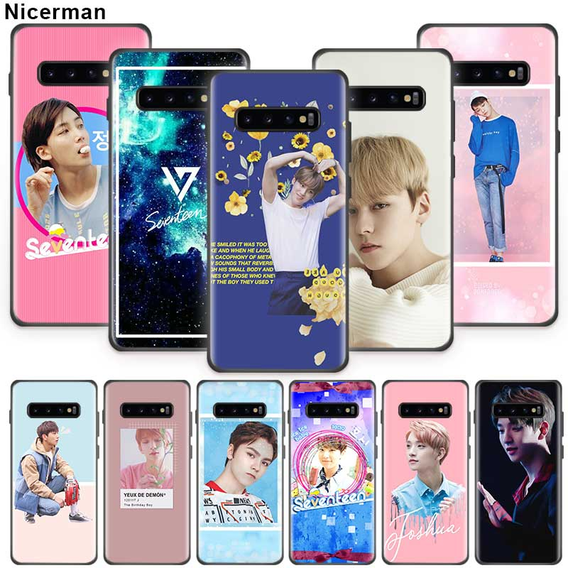 <font><b>Korean</b></font> Stars Seventeen <font><b>Case</b></font> for <font><b>Samsung</b></font> Galaxy S10 5G S9 <font><b>S8</b></font> S7 Plus S10e Note 9 10 8 Black Silicone Phone Shell Coque Abdeckung image