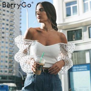 Image 1 - Berrygo Thời Trang Gợi Cảm Tắt Áo Trễ Vai Áo Sơ Mi Nữ Thoáng Mát Áo Nữ Hàng Đầu Năm 2020 Mới Mùa Xuân Hè Trắng Lưới Áo
