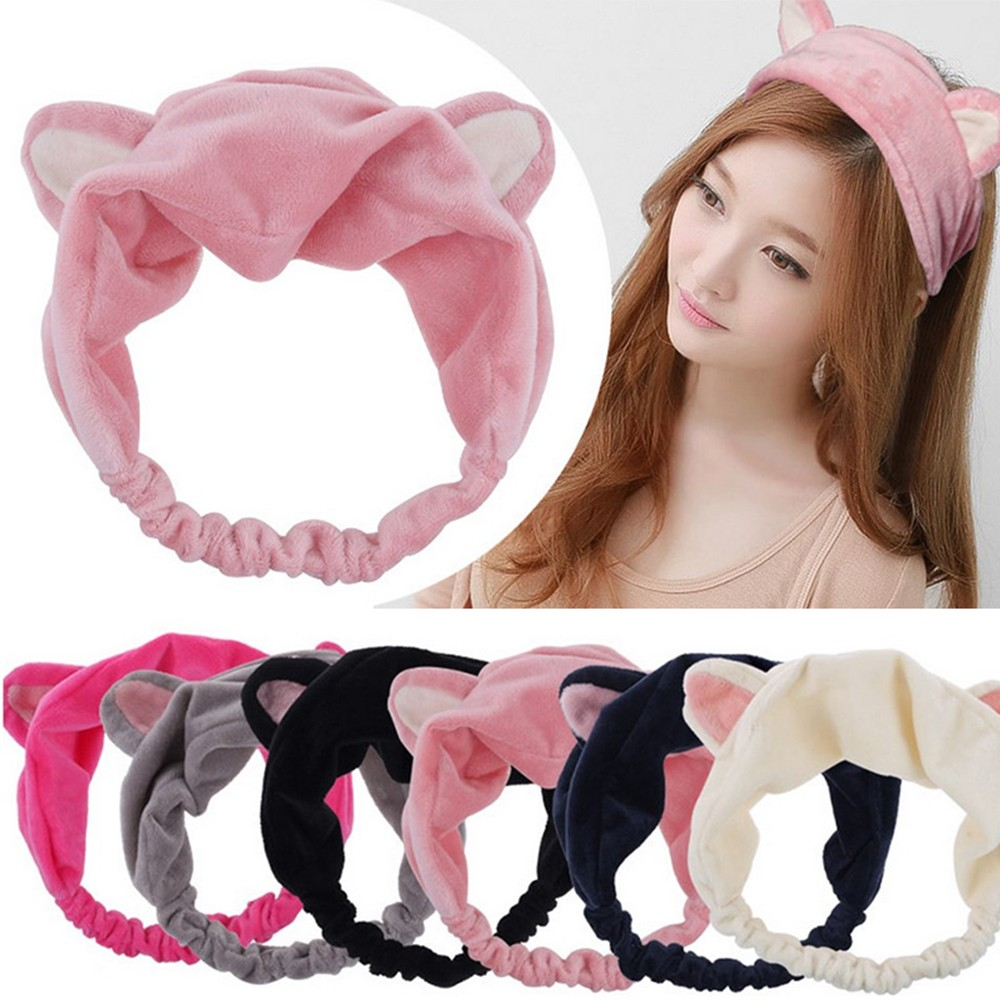 New Arrival Cute Womens Girls Headband Cat Ears Hairband Party Gift Headdress Hair Accessories Makeup Cleaning Tools