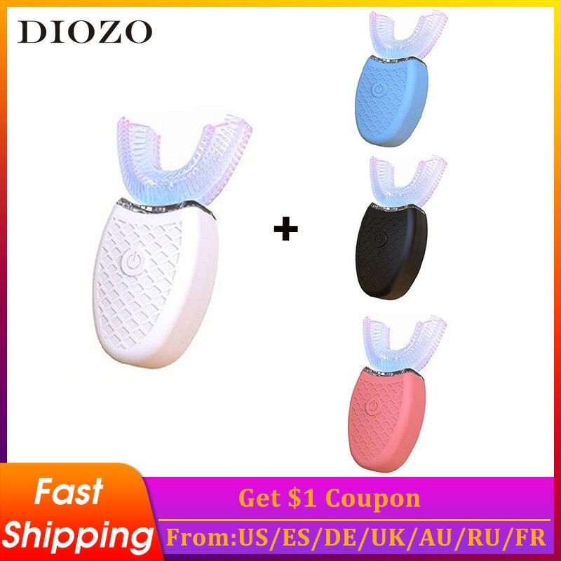 360 degrés brosse à dents électrique enfants brosse à dents sonique USB dents nettoyant brosse à dents automatique lumière bleue blanchiment des dents