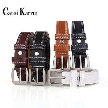 Catei Karrui Fashion Womens Leather Belts With Pin Buckle Waist Belt For Jeans Pants Genuine Leather Ladies  Retro Thin Belt