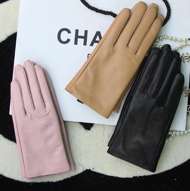 Women's Genuine Leather Brief Glove Lady's Warm Natural Sheepskin Leather Plus Size Fashion Slim Driving Glove R2463