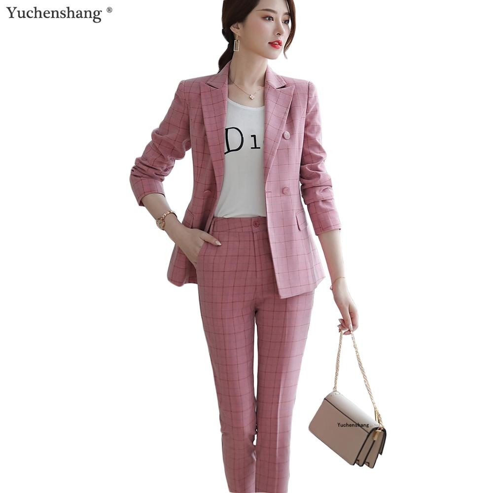 Women Pant Suit 2019 Two Pieces Set Size S-5XL Pink Brown Plaid Jacket Blazer With Plaid Trouser Sets Casual Fashion Suits