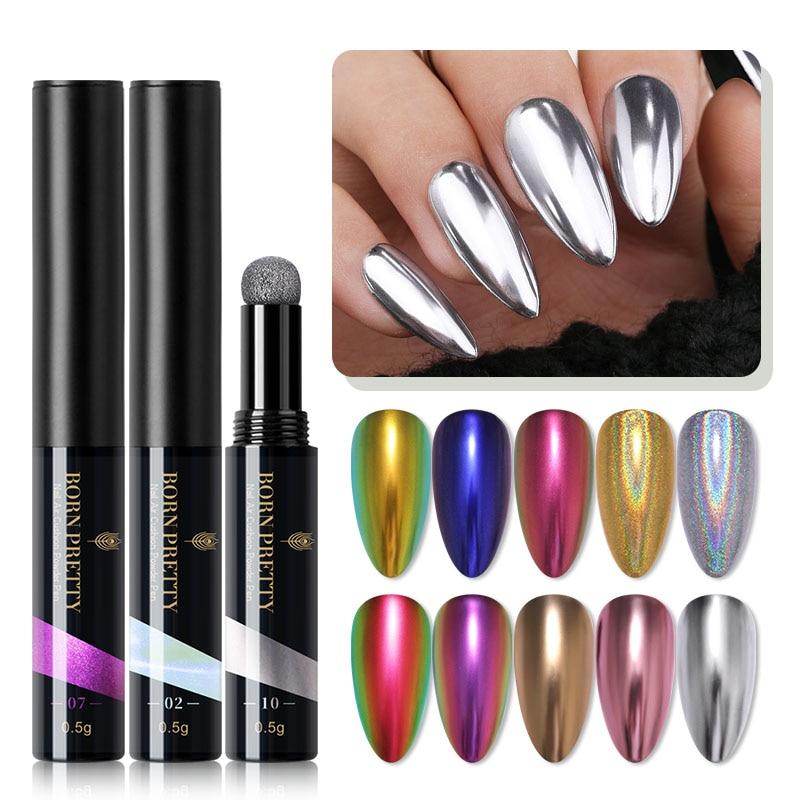 BORN PRETTY дизайн ногтей порошок Подушка ручка зеркальный эффект голографический лазер хромовый пигмент порошок металлический блеск для ногте...