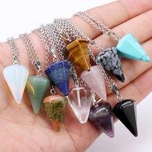 Cristal de quartzo natural ponto cura energia reiki chakra corte pedras preciosas pingente colar pendurado decoração com corrente de metal