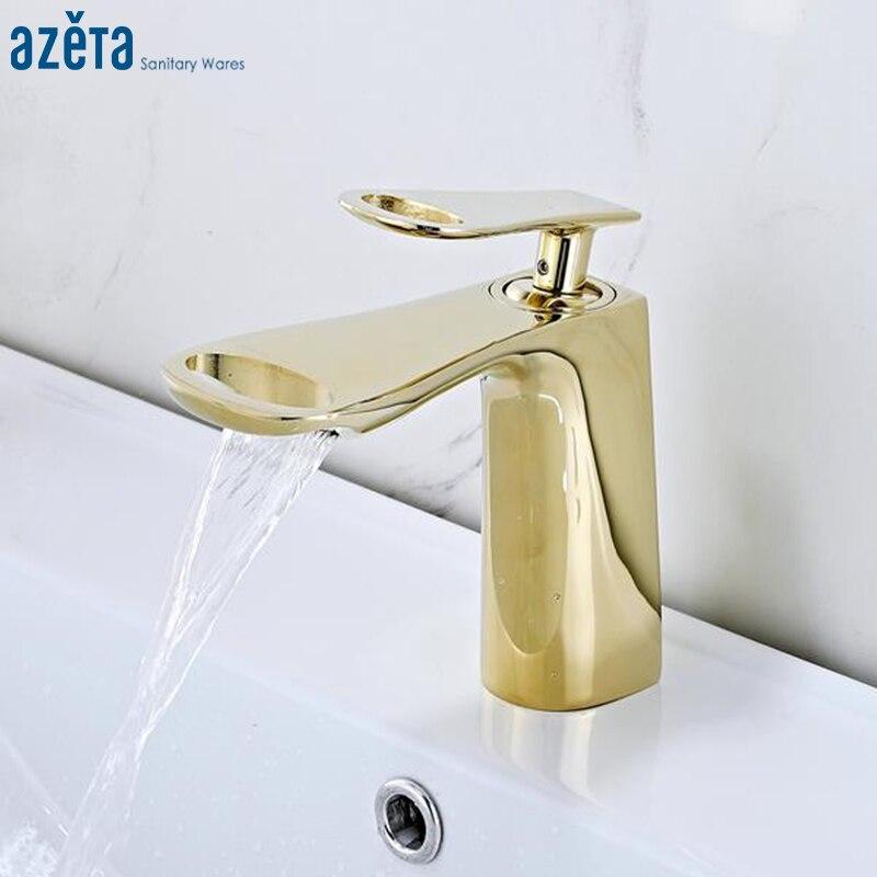 Azeta moderne robinet doré cascade salle de bains en laiton bassin robinet chaud et froid mitigeur lavabo robinet d'eau AT6706G