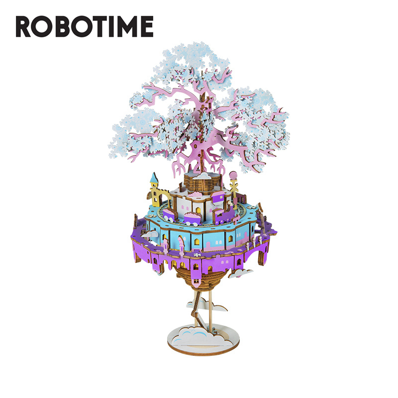 Robotime 2020 New Arrival DIY City In The Sky 3D Puzzle Game Assembly Moveable Music Box Toy Gift For Children Adult