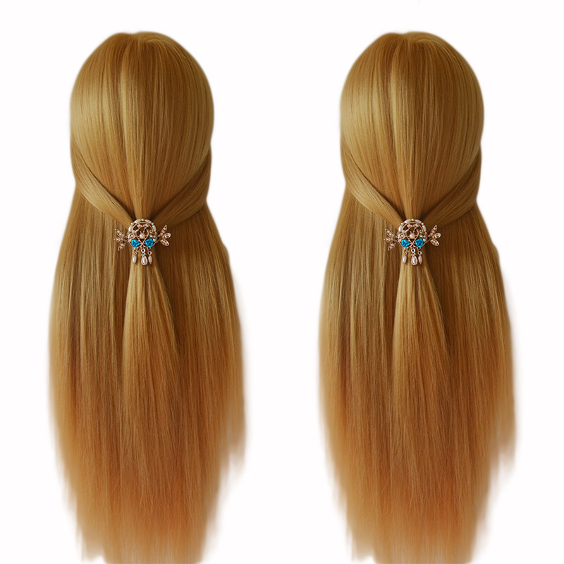 100% High Temperature Fiber Blonde Hair Mannequin Head Good Training Head For Braid Hairdressing Manikin Head With Free Clamp