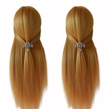 100% de alta temperatura de fibra de cabello rubio cabeza de Maniquí de entrenamiento de trenza de peluquería maniqui pelo natural con libre abrazadera