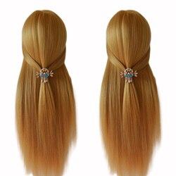 100% High Temperature Fiber Blonde Hair Mannequin Head Good Training Head For Braid Hairdressing Manikin Head With Free Clamp