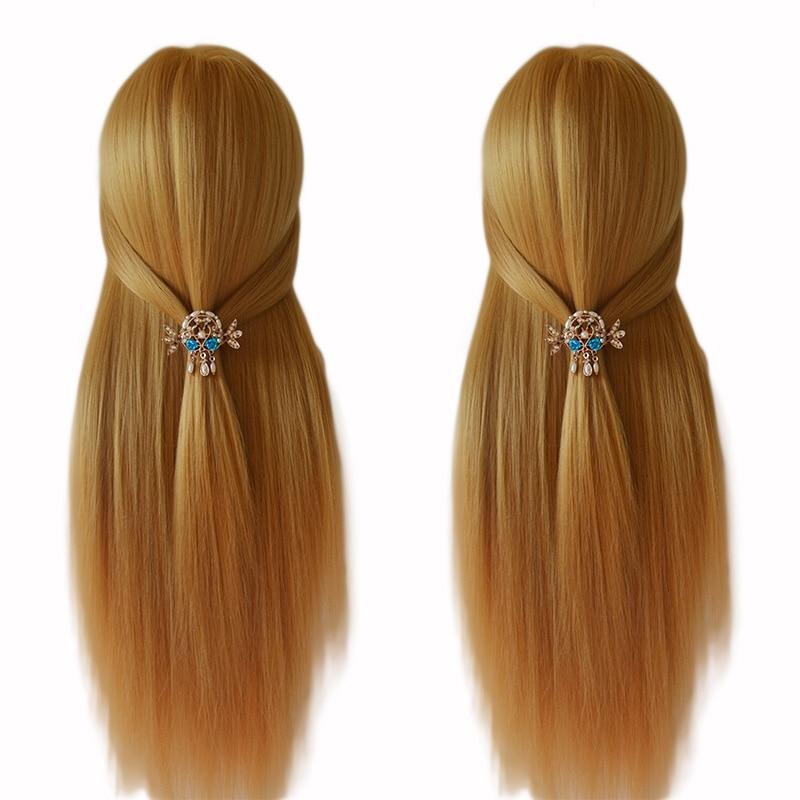 100% Высокая температура волокно блондинка манекен с волосами головы хорошее обучение голова для кос Парикмахерские манекен для причесок маникен