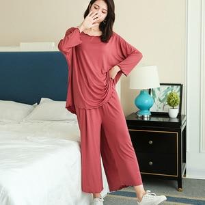 Image 3 - プラスサイズホームスーツ女性秋の新長袖パジャマツーピースセット 9 点ワイド脚パンツパジャマファム