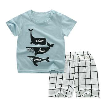 Chłopięce ubrania garnitury w rybki zestawy ubrań dla chłopców t-shirt + spodnie Casual dresy sportowe zestawy malucha maluch chłopcy odzież zestaw tanie i dobre opinie Unini-yun Moda O-neck Swetry COTTON Unisex Krótki REGULAR Pasuje prawda na wymiar weź swój normalny rozmiar Płaszcz